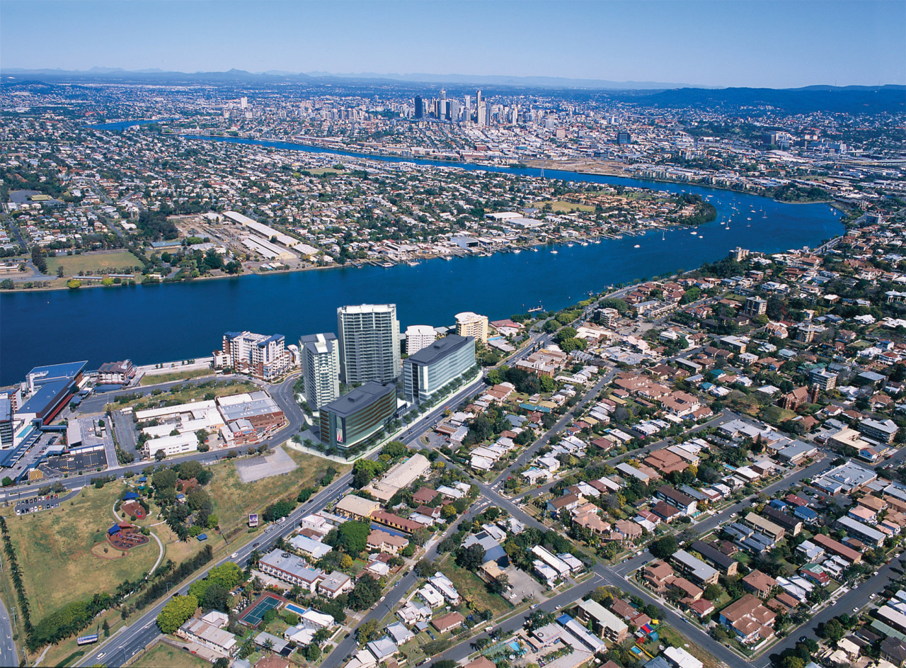Aerial view of Hamilton Harbour development which was aerial photography, atmosphere of earth, bird's eye view, city, cityscape, daytime, metropolis, metropolitan area, photography, residential area, sky, skyline, suburb, tower block, urban area, urban design, water, waterway, gray