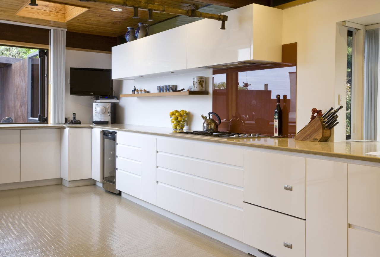view of a kitchen which features white-lacquered cabinetry cabinetry, countertop, cuisine classique, interior design, kitchen, room, gray