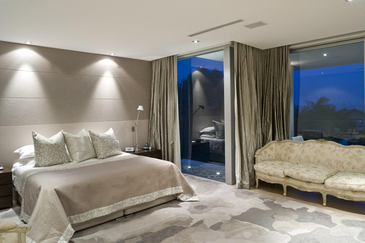 Contemporary bathroom with unique bathtub bedroom, ceiling, interior design, property, real estate, room, suite, wall, window, gray