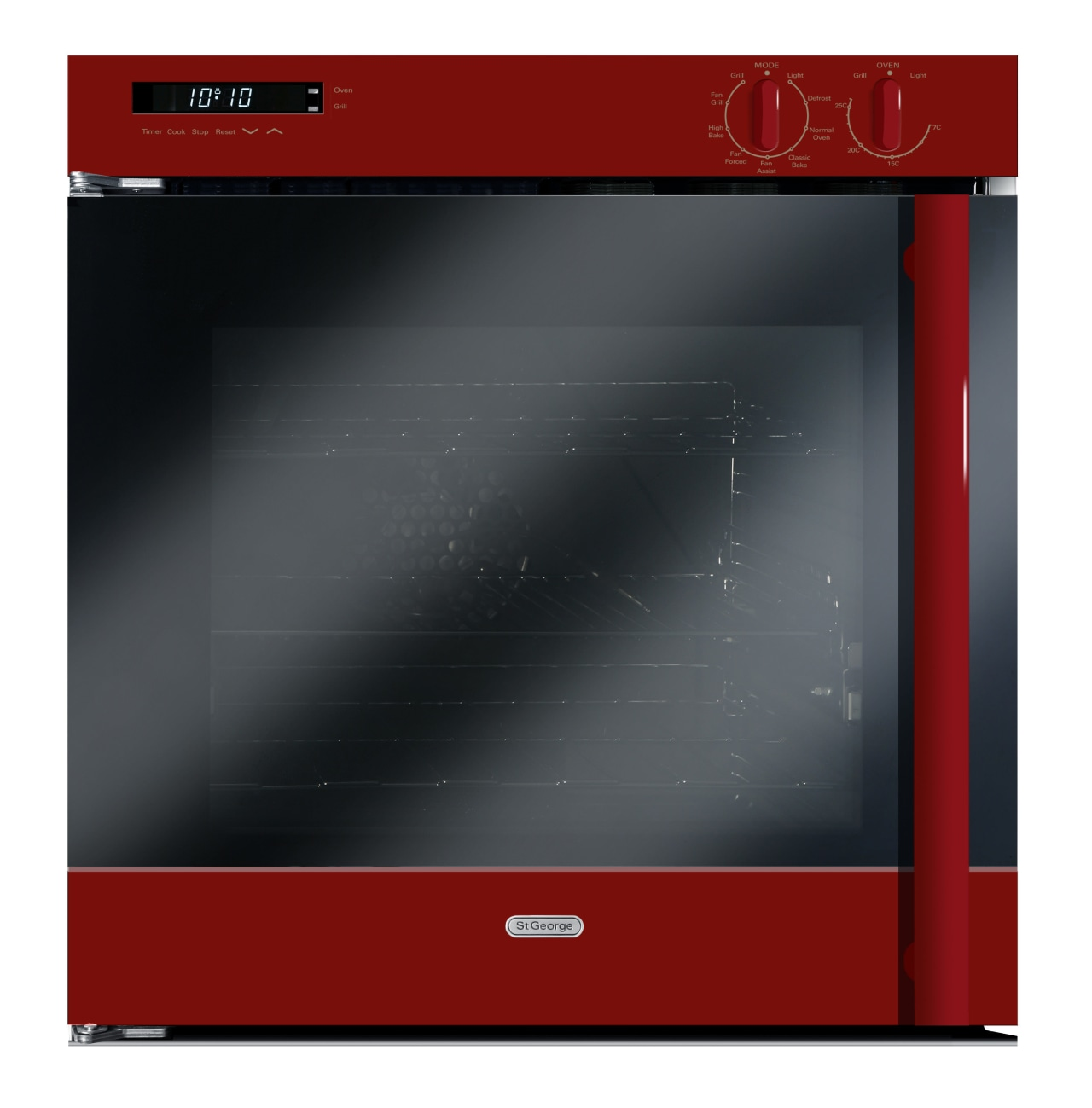 View of a kitchen which features St George computer monitor, display device, flat panel display, media, multimedia, product, red, screen, black