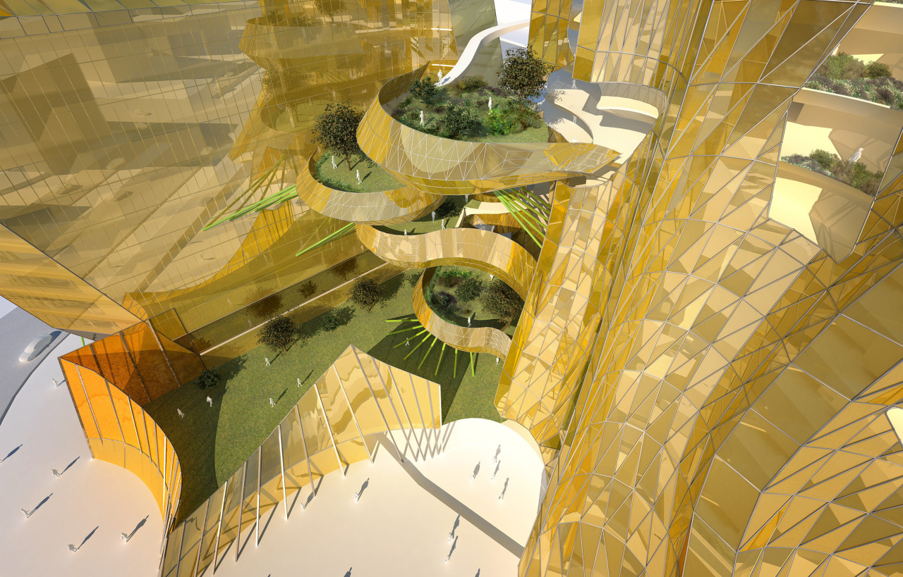 View of the conceptual drawings of the Collaborative architecture, yellow, orange, brown