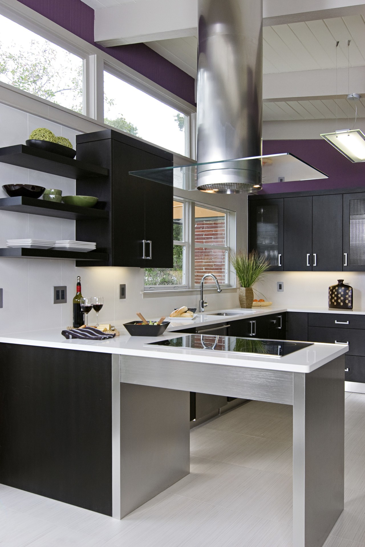 View of a remodeled kitchen which features lavender countertop, cuisine classique, interior design, kitchen, product design, gray, black