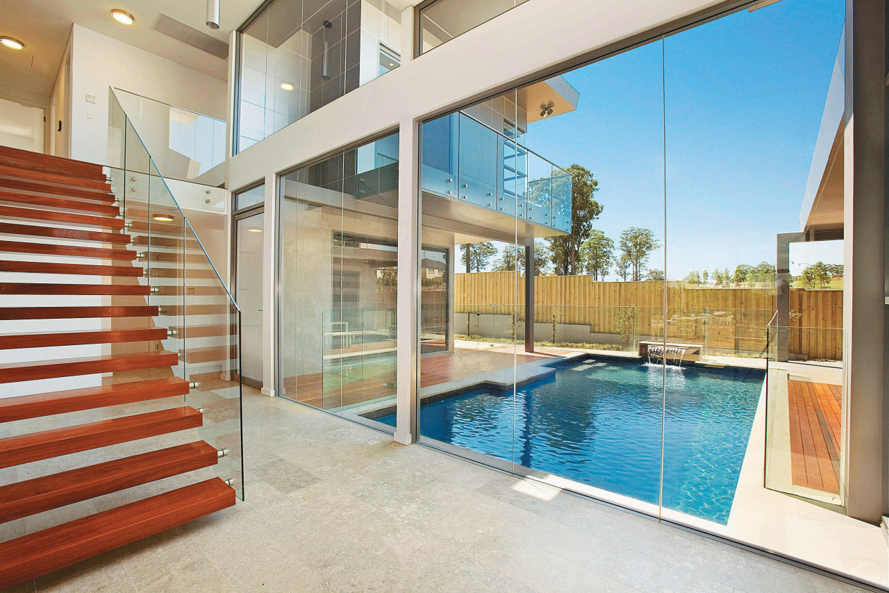 View of home designed by Aspect Design and apartment, estate, home, house, interior design, property, real estate, swimming pool, window, white