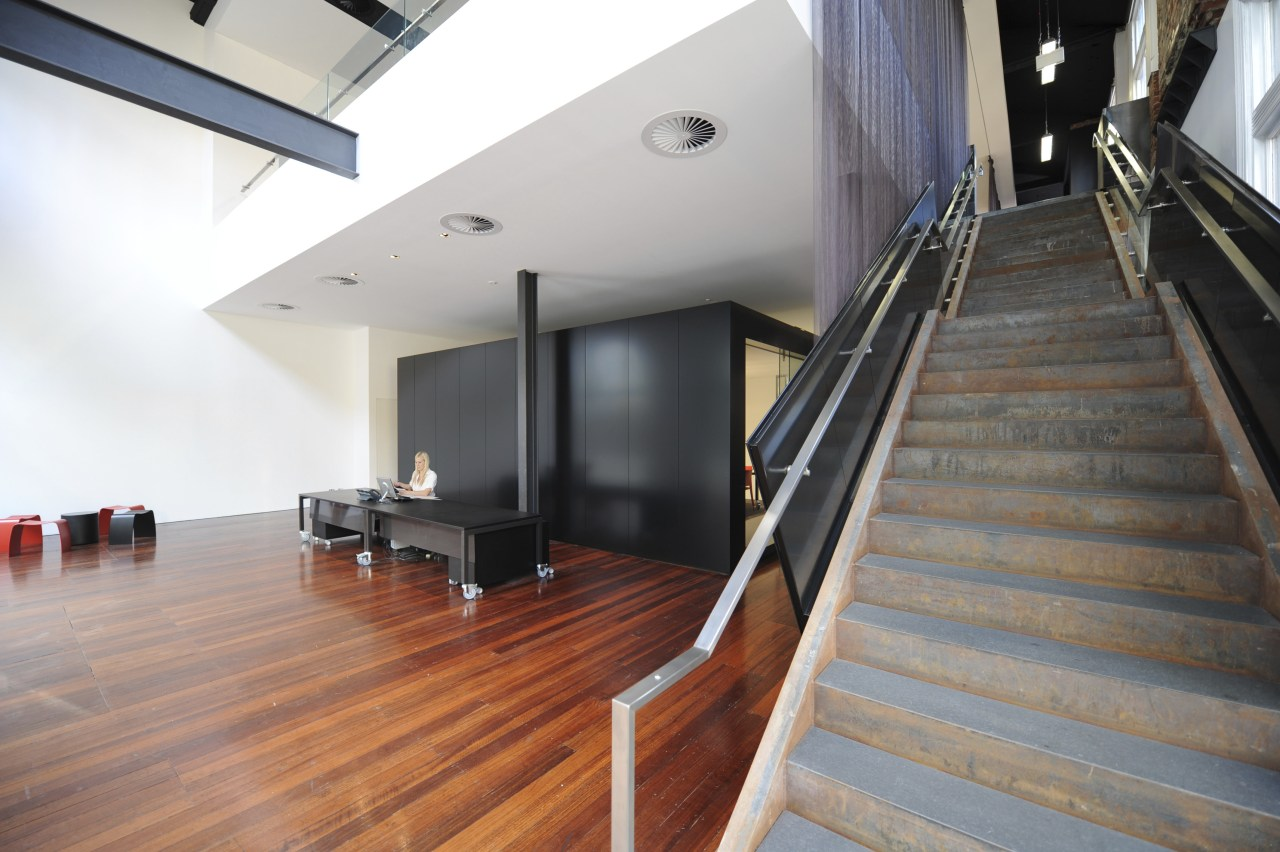 Architectural firm Coz Howlett & Bailey Woodland relocated architecture, daylighting, floor, flooring, handrail, hardwood, house, interior design, laminate flooring, loft, property, real estate, stairs, wood, wood flooring, white