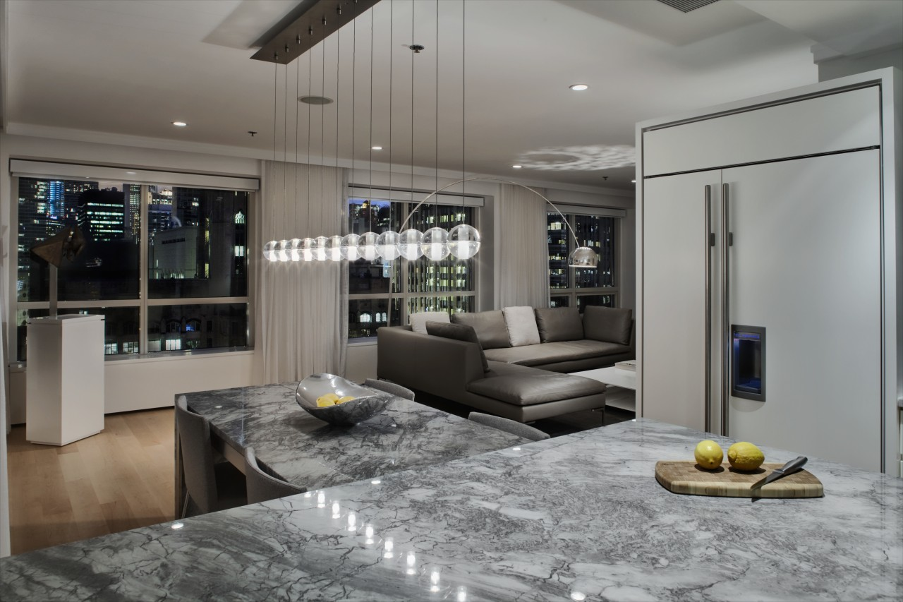 View of kitchen designed by Massey Hoffman Architects ceiling, interior design, living room, room, gray