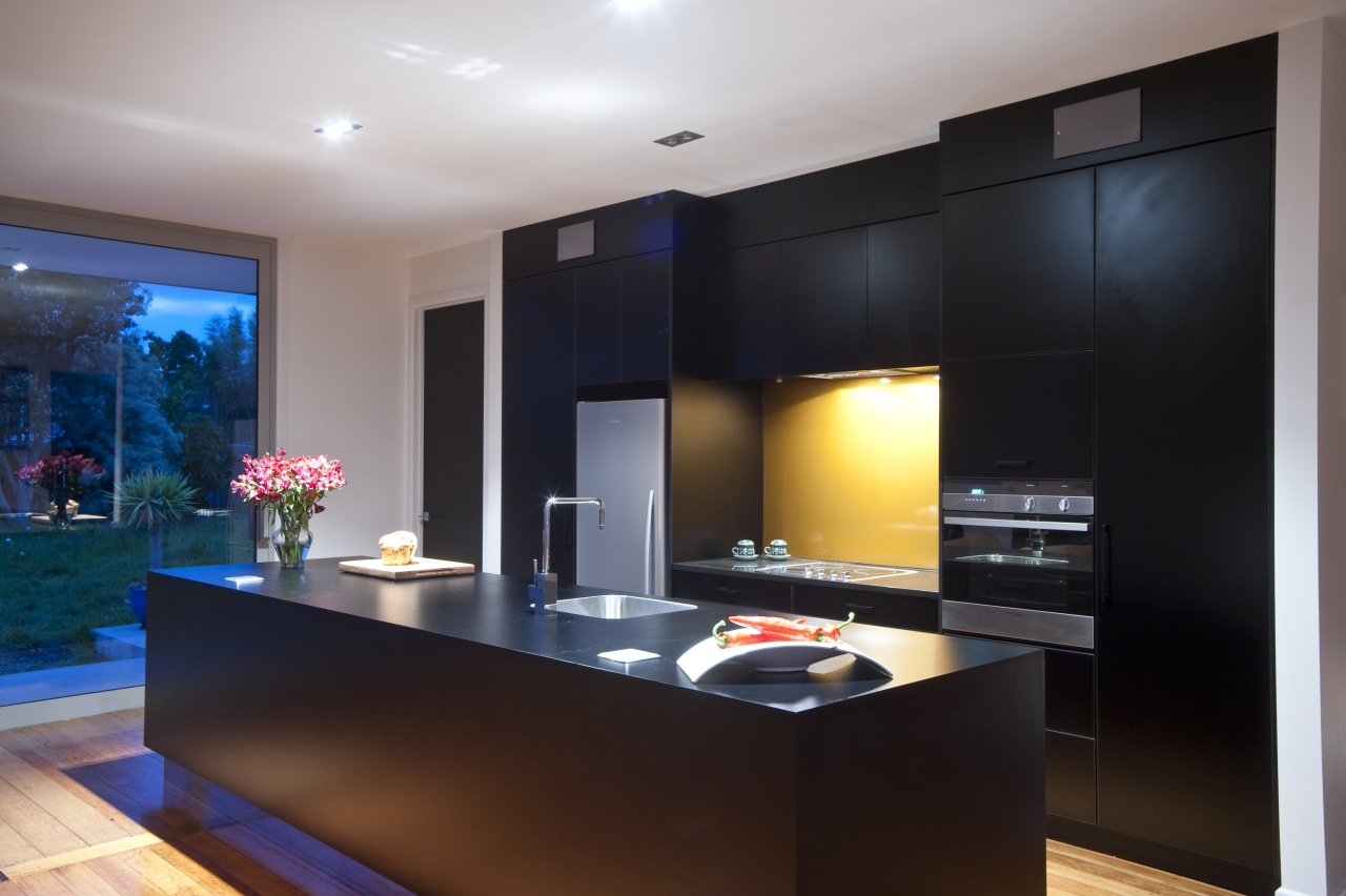 This new kitchen designed by Nicola Mason of ceiling, countertop, interior design, kitchen, lighting, real estate, room, black, gray