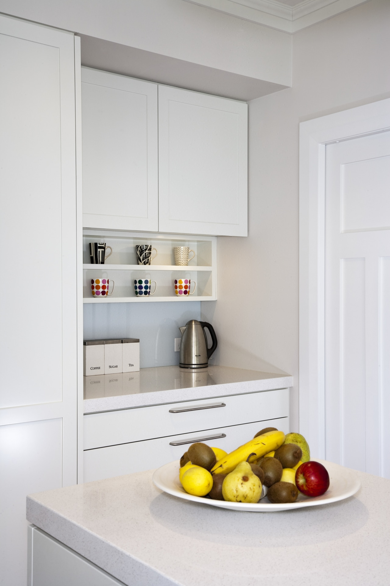 This new kitchen, by RH Cabinetmakers, features traditionally countertop, home appliance, interior design, kitchen, kitchen appliance, room, gray, white