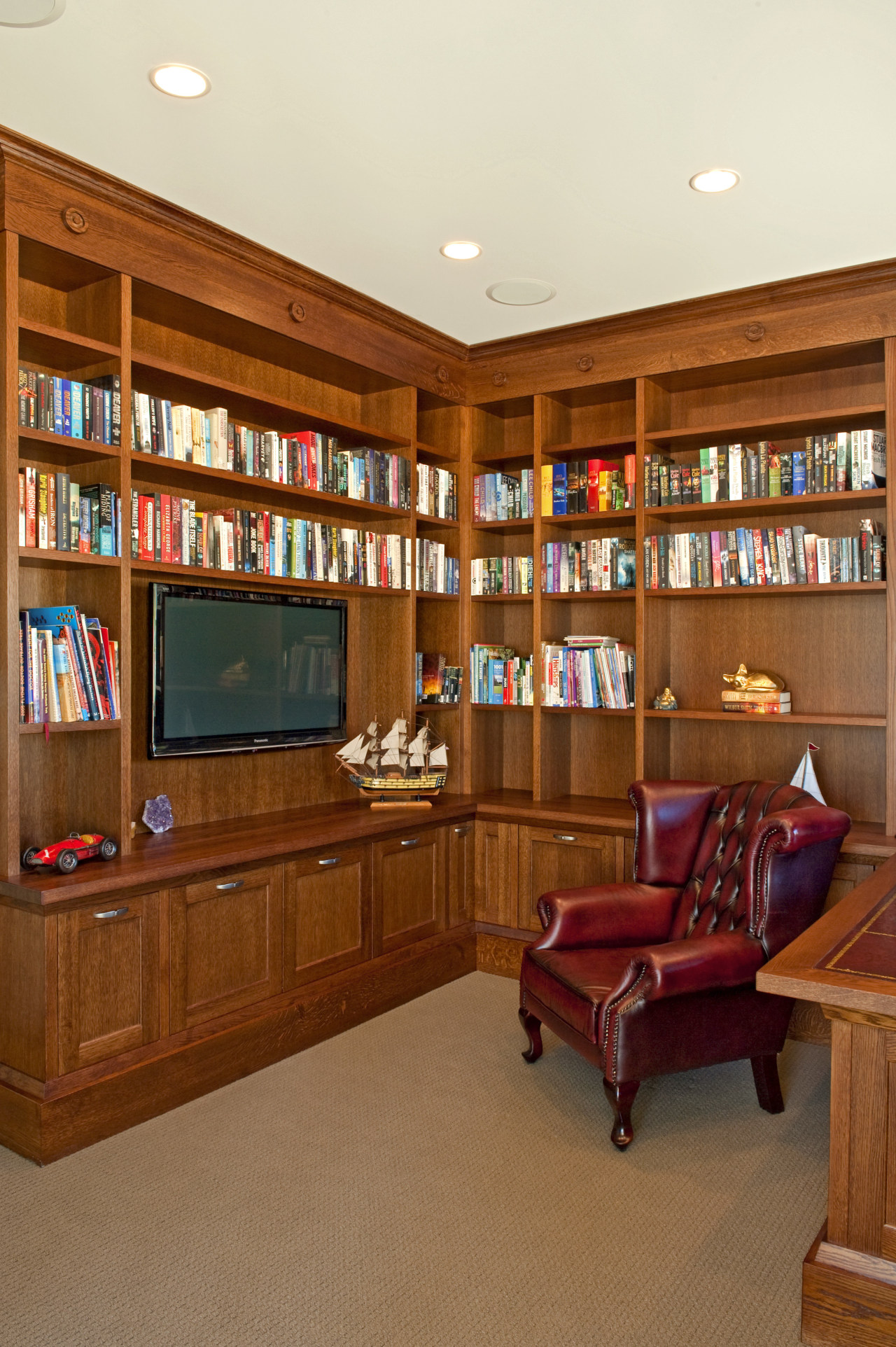 Fyfe Kitchens also designed and manufactured a library bookcase, cabinetry, furniture, home, interior design, living room, room, shelving, brown