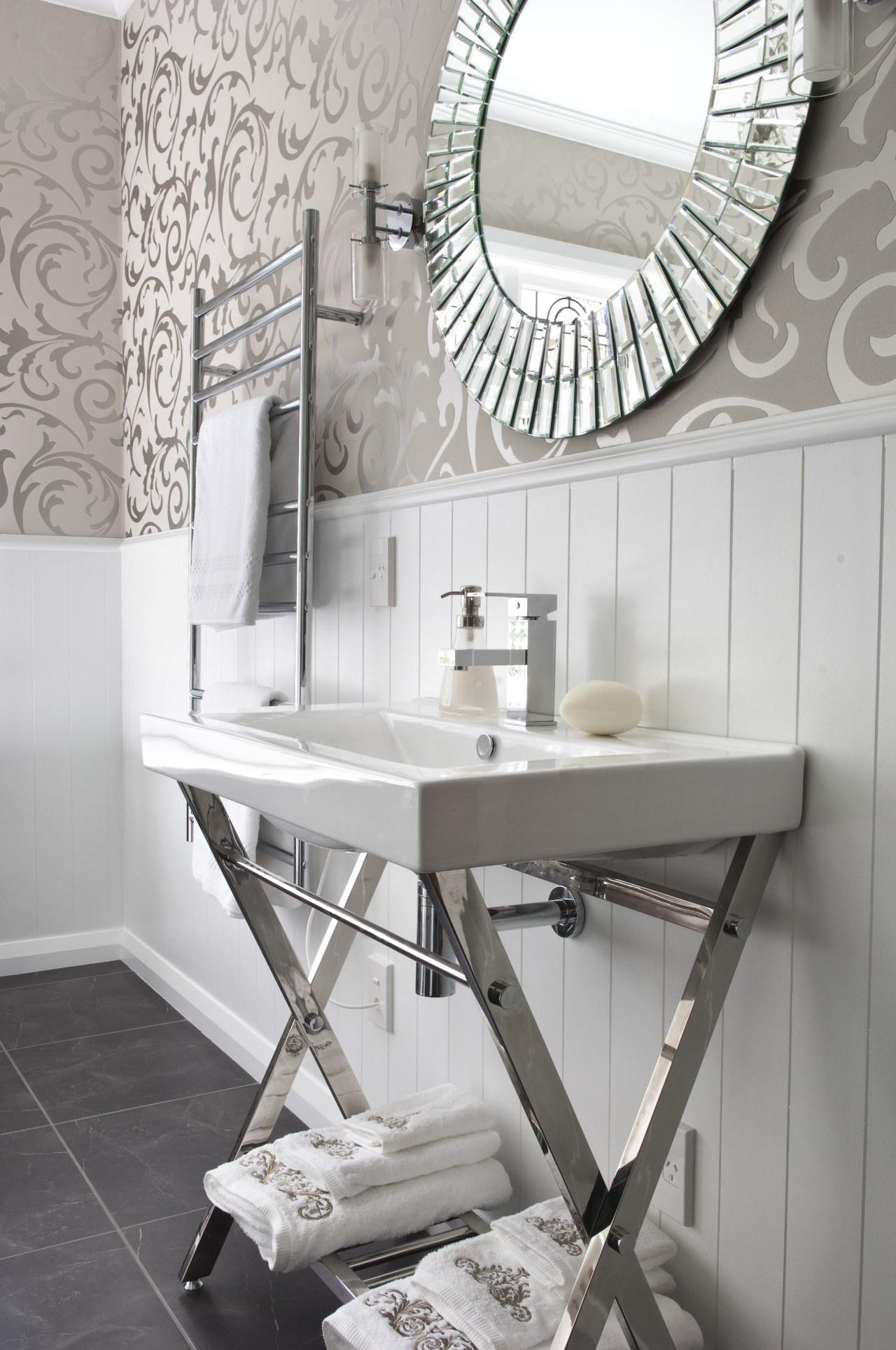 View of bathroom in a 1930s bungalow designed bathroom, bathroom sink, ceramic, floor, flooring, furniture, home, interior design, plumbing fixture, product, product design, sink, table, tap, tile, wall, gray