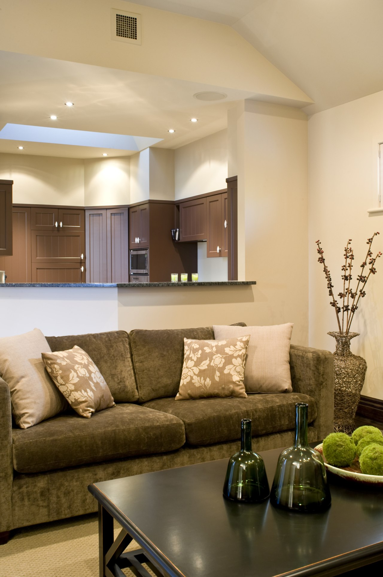 Close up of Lounge & kitchen area ceiling, home, interior design, lighting, living room, room, wall, orange, brown