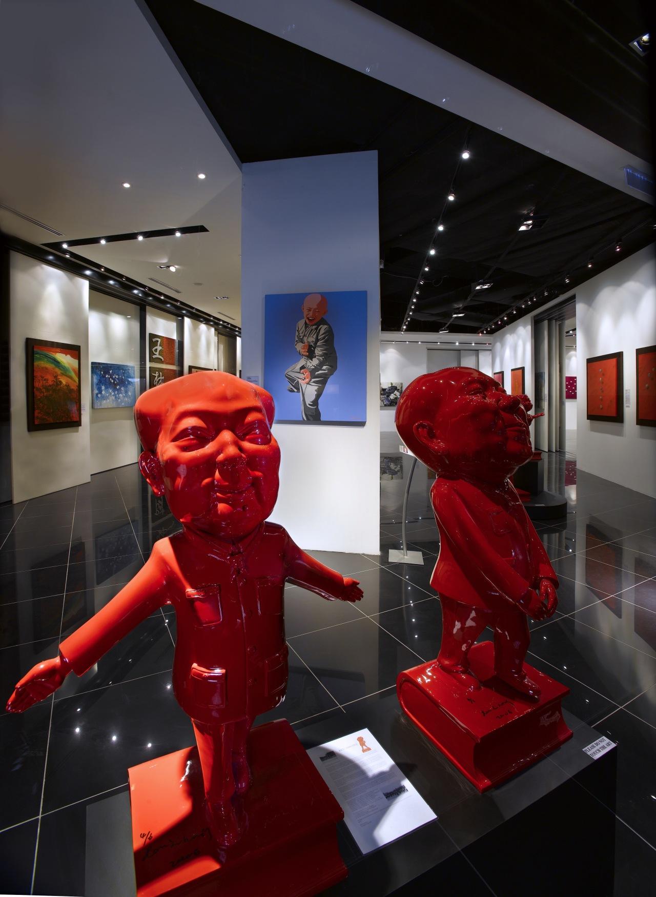 Interior view of the Art Gallery by Designworx, display window, exhibition, interior design, technology, black, red
