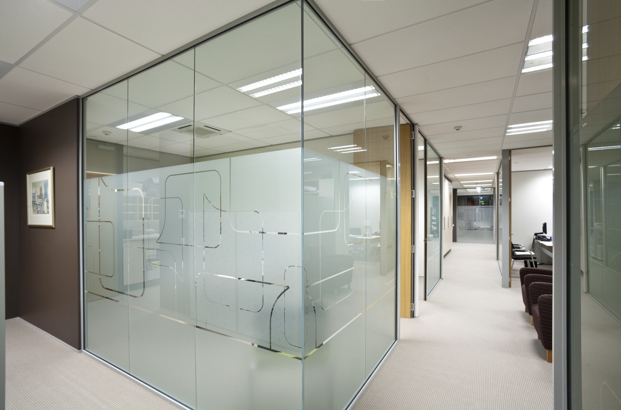 Office with nice glazing which adds private modern architecture, ceiling, glass, interior design, office, gray