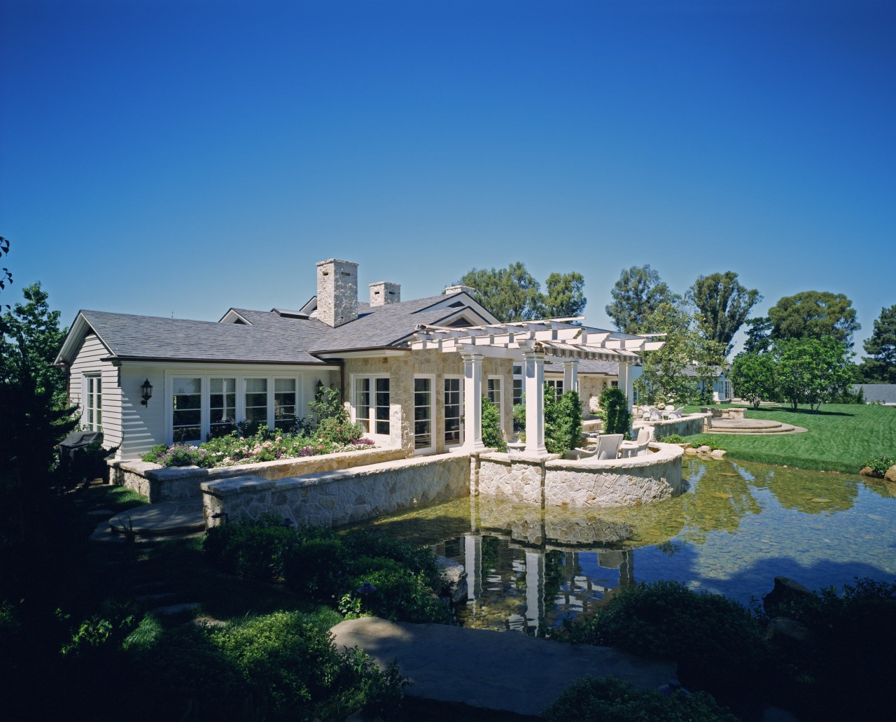 View of pond & gardens cottage, daytime, estate, home, house, landscape, mansion, property, real estate, reflection, residential area, sky, suburb, tree, villa, water, blue