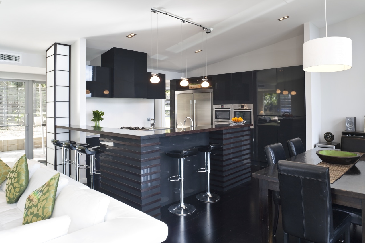 View of kitchen designed by Celia Visser of countertop, interior design, kitchen, white, black