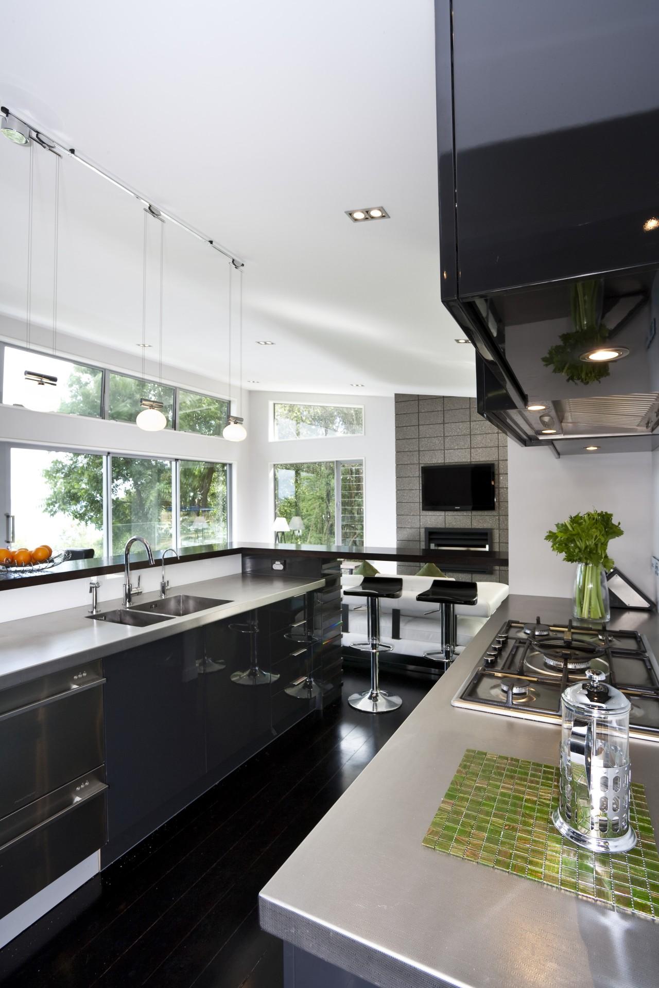View of kitchen designed by Celia Visser of countertop, house, interior design, kitchen, white, gray, black