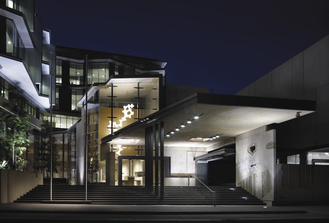 Exterior view of the entrance architecture, building, facade, house, metropolitan area, mixed use, residential area, black, blue