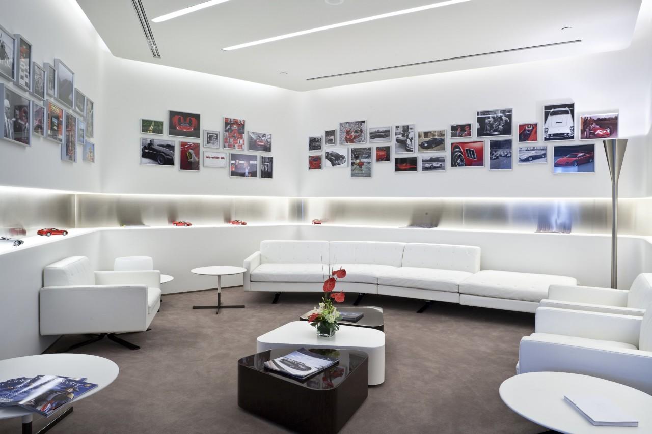 Ferrari Showroom in Australia furniture, interior design, living room, product design, white, gray
