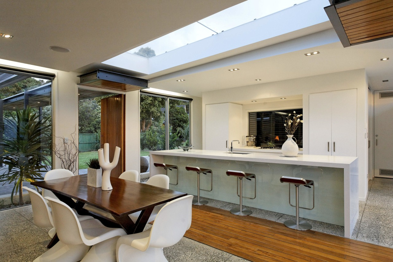 Contemporary home has a skylight above ceiling, estate, house, interior design, living room, property, real estate, window, gray, brown