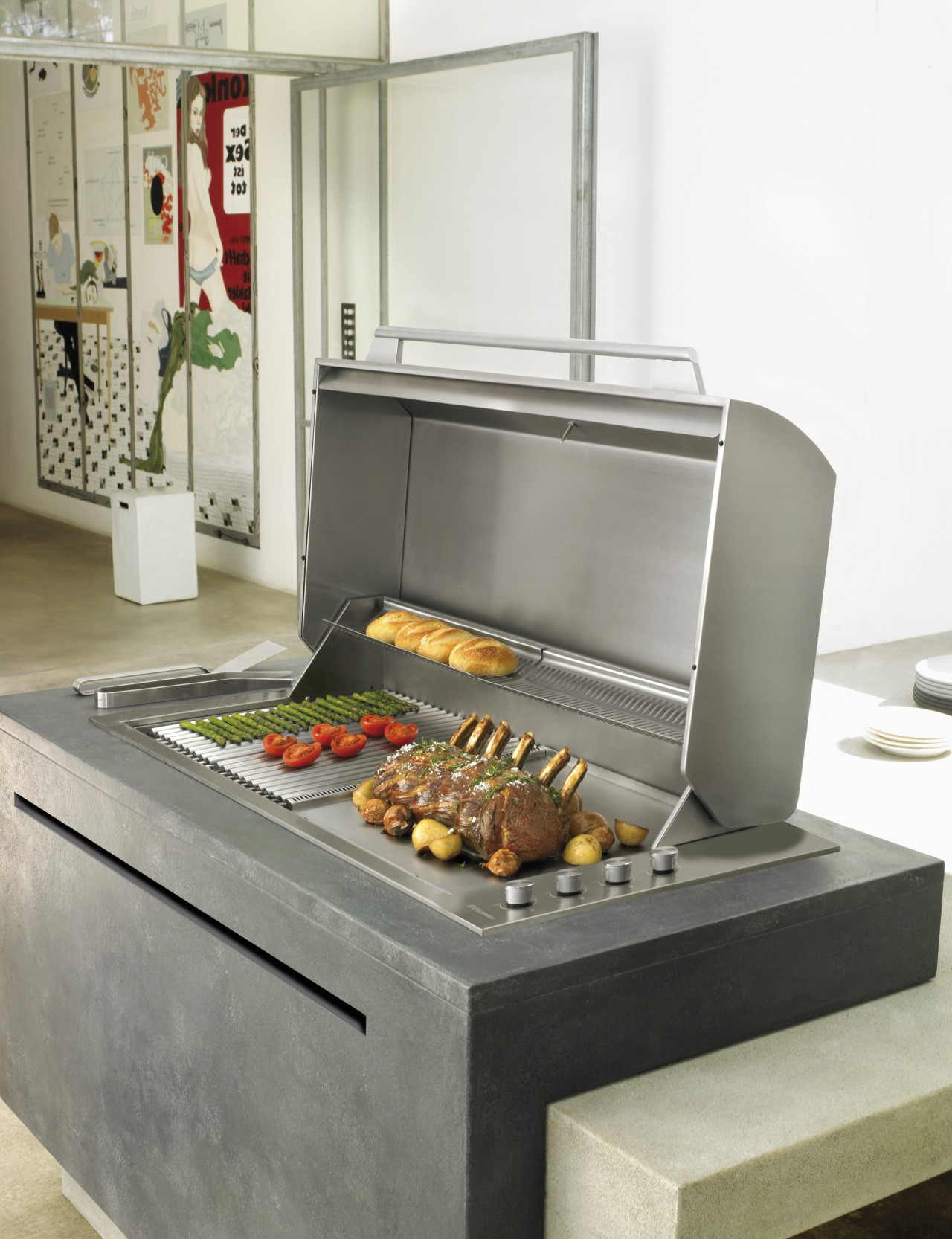 The low profile Integrated Barbecue from Electrolux NZ home appliance, kitchen appliance, white, gray