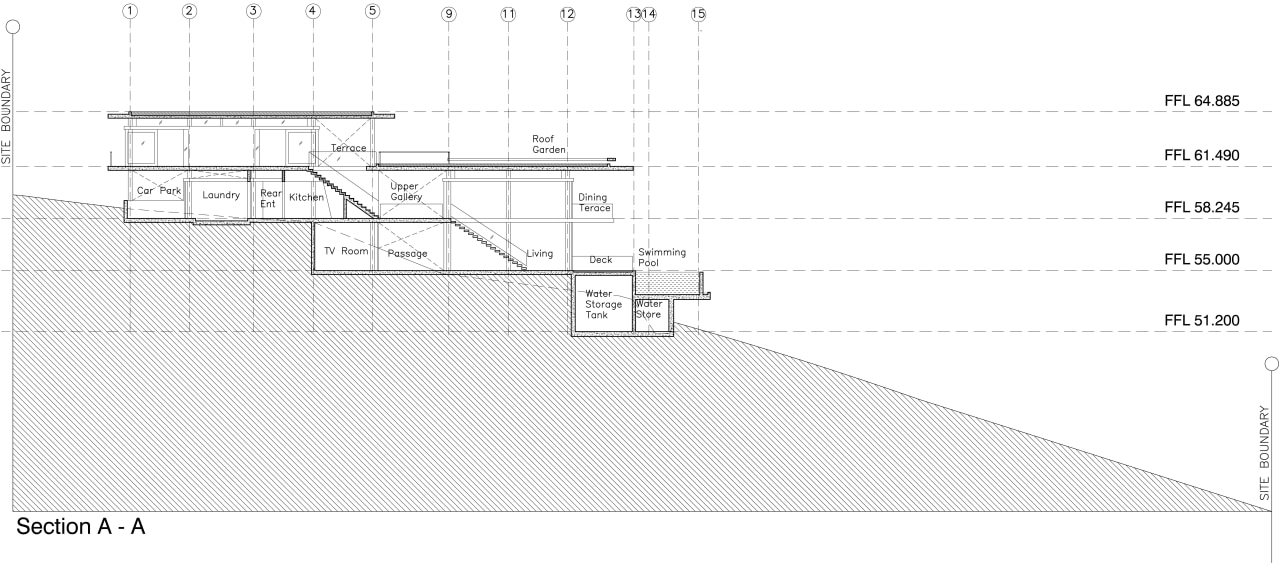 View of modern home designed by Design Unit angle, architecture, area, black and white, diagram, drawing, elevation, font, line, plan, product, product design, structure, text, white