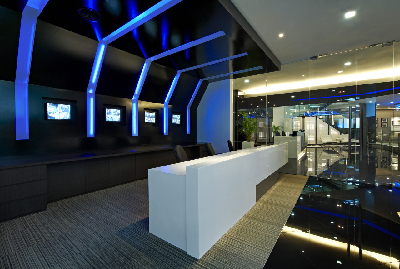 View of the security specialists Nexbis offices, reception architecture, ceiling, convention center, interior design, lighting, lobby, black