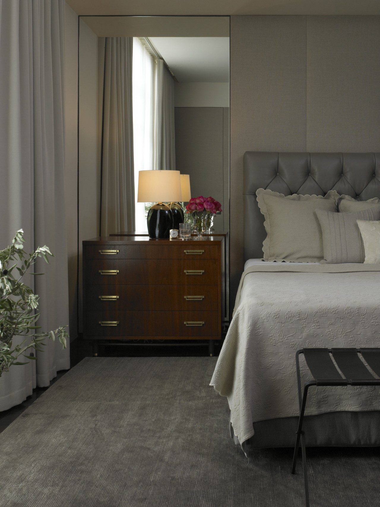 A nicely dressed nightstand completes this remodeled bed, bed frame, bedroom, chest of drawers, drawer, floor, flooring, furniture, hardwood, home, interior design, laminate flooring, nightstand, room, wall, wood, wood flooring, gray, black