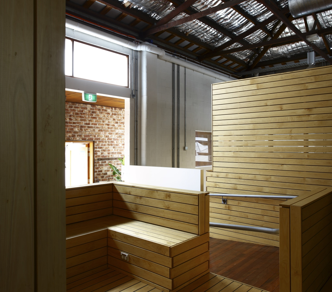 Interior view of office spaces at Light Space architecture, interior design, wood, brown