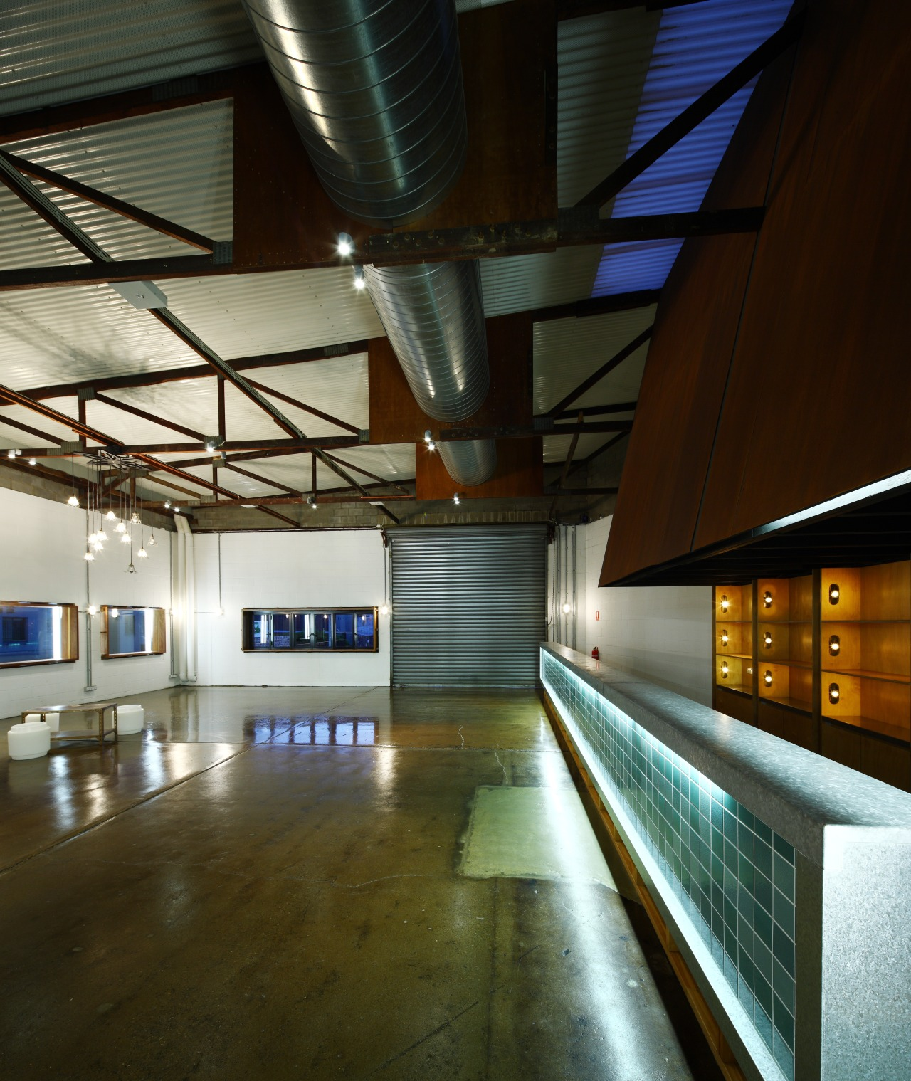 View of the bar on the lower level architecture, ceiling, daylighting, interior design, lobby, metropolitan area, tourist attraction, brown, black