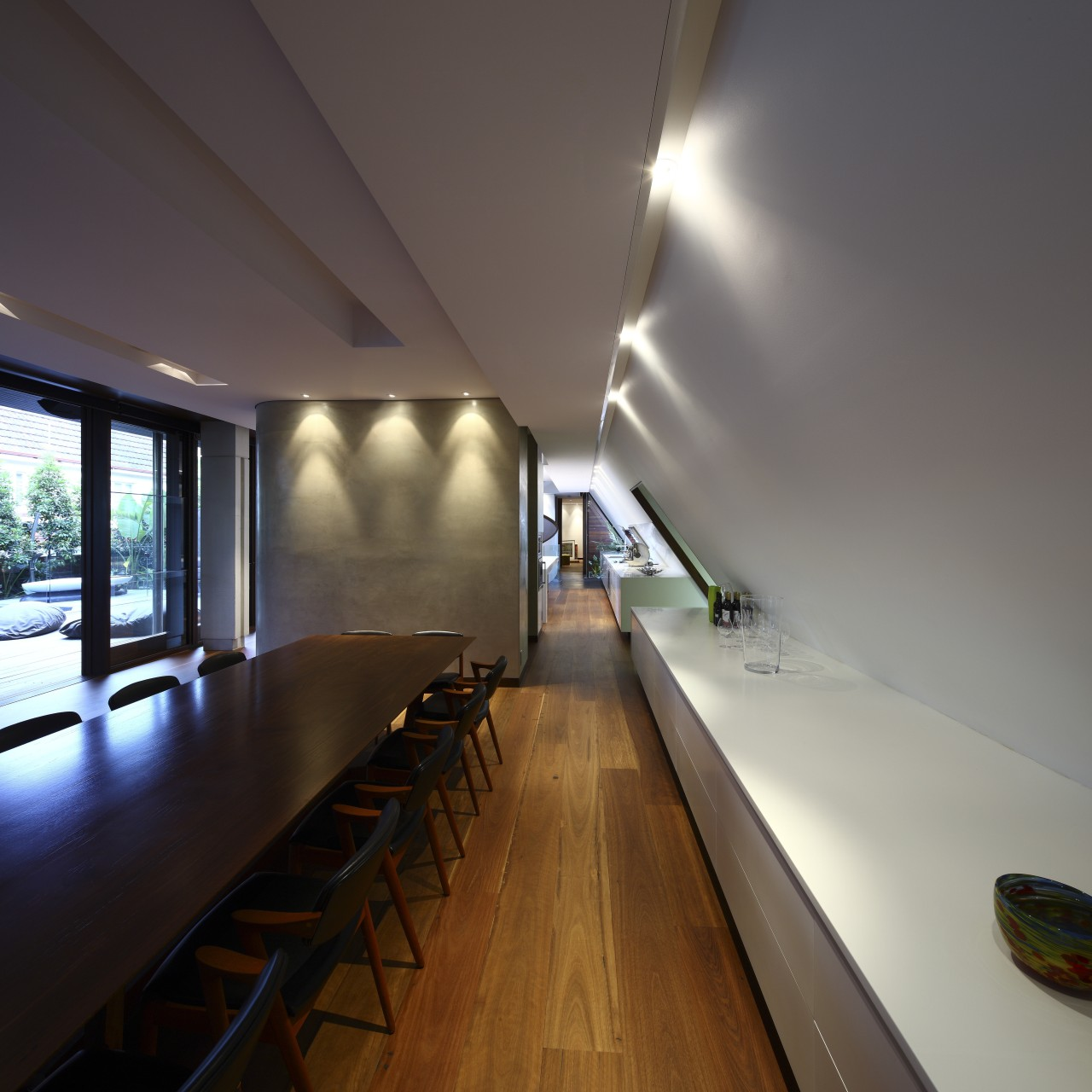 View of dining area which features a sideboard architecture, ceiling, daylighting, house, interior design, table, wood, gray