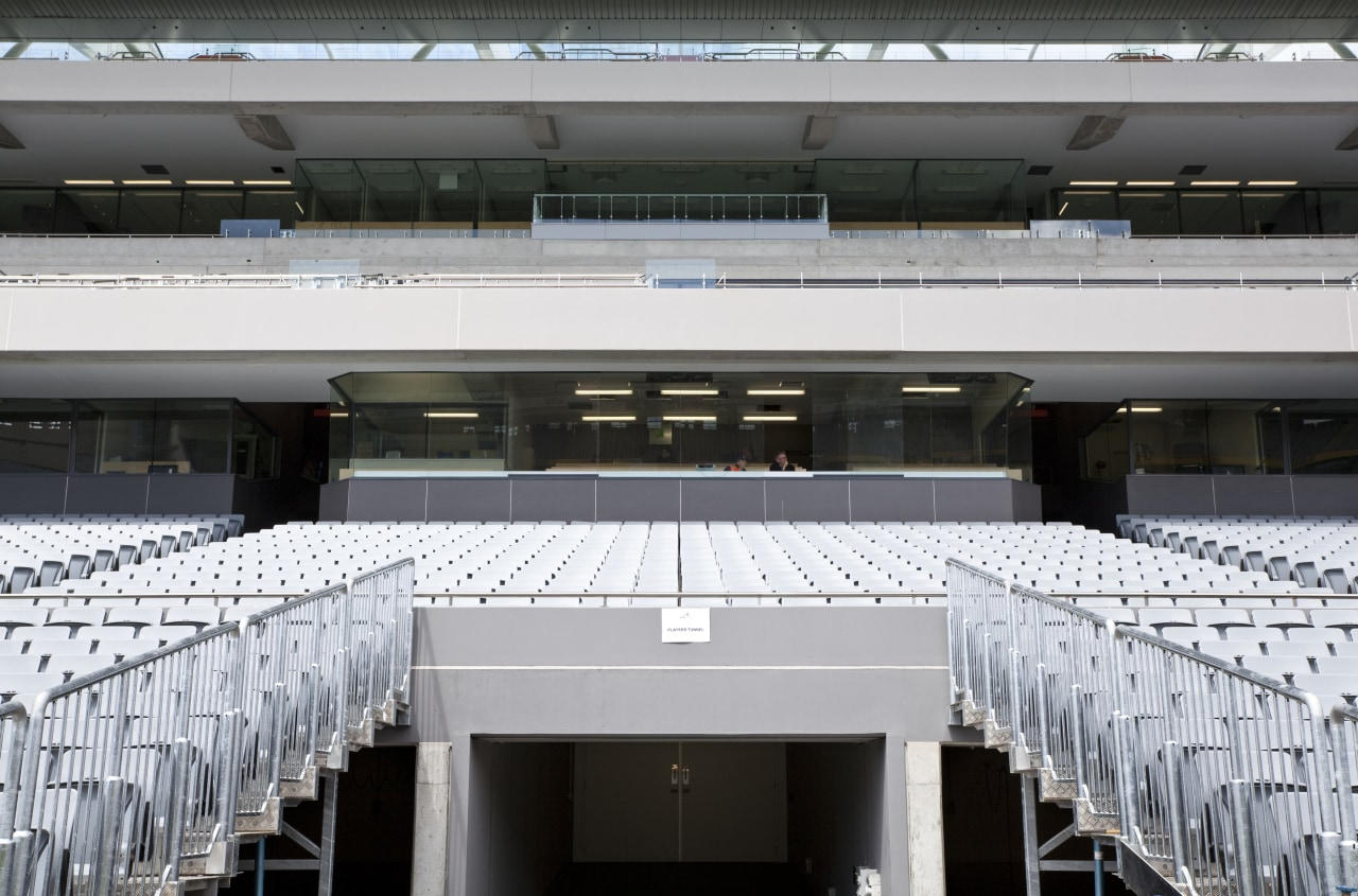 View of the stands at Eden Park which architecture, building, roof, sport venue, structure, gray, black