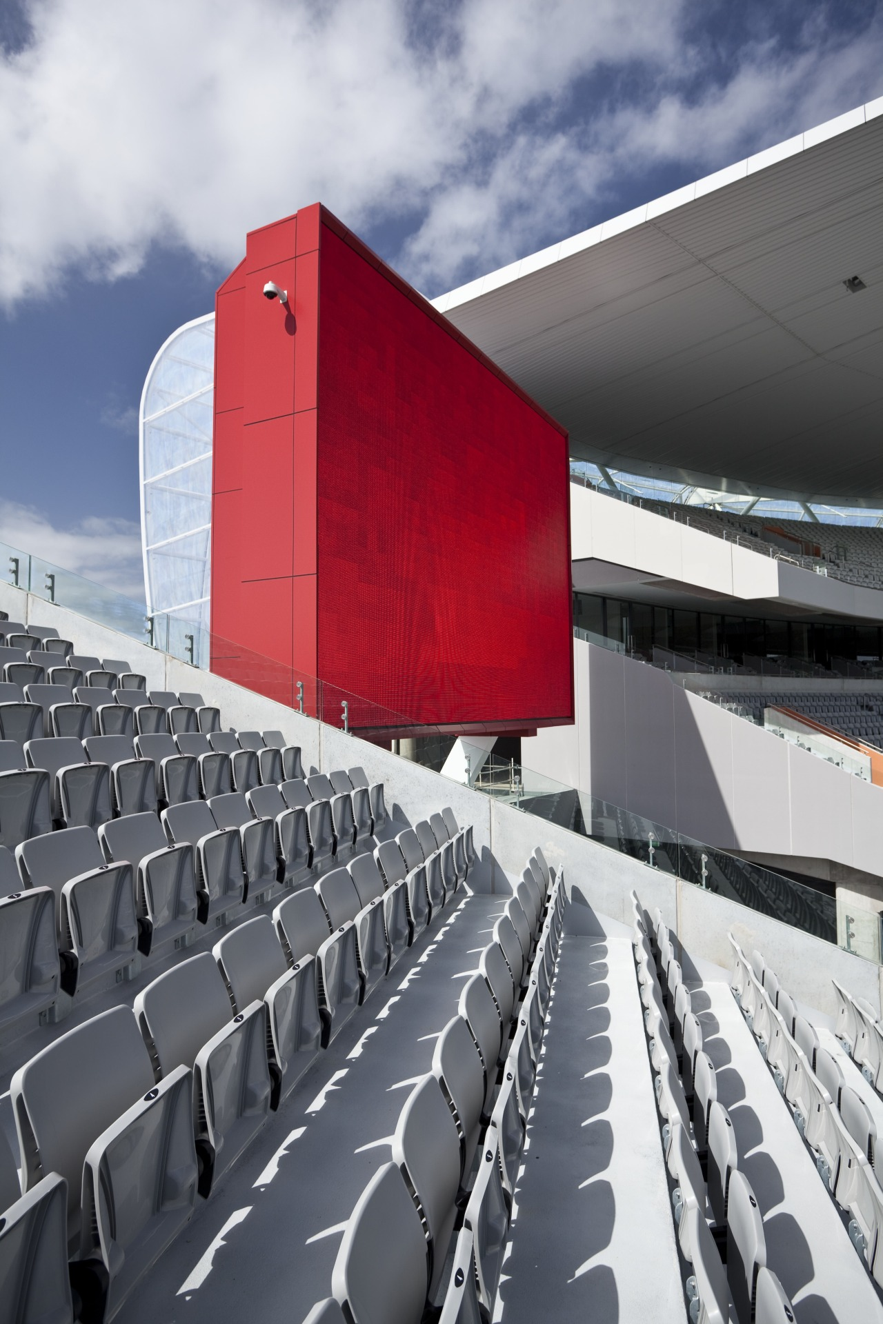 View of the stands at Eden Park which architecture, building, line, product design, sport venue, stadium, structure, gray