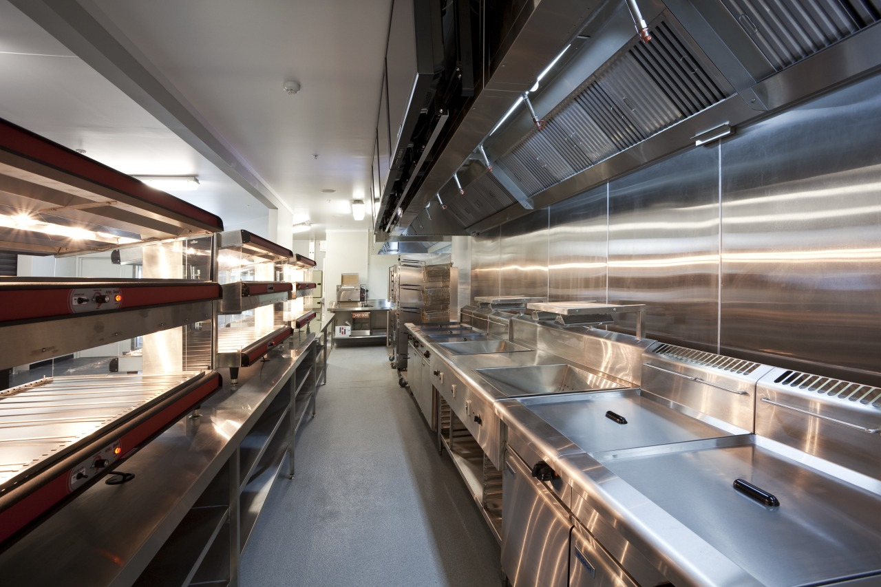 View of the front-of-house of a kitchen at gray, black