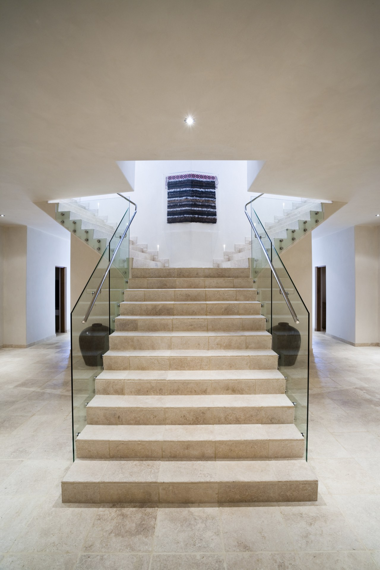 Interior view of stairway at Mediterranean styled home architecture, ceiling, daylighting, floor, flooring, handrail, home, house, interior design, stairs, structure, gray