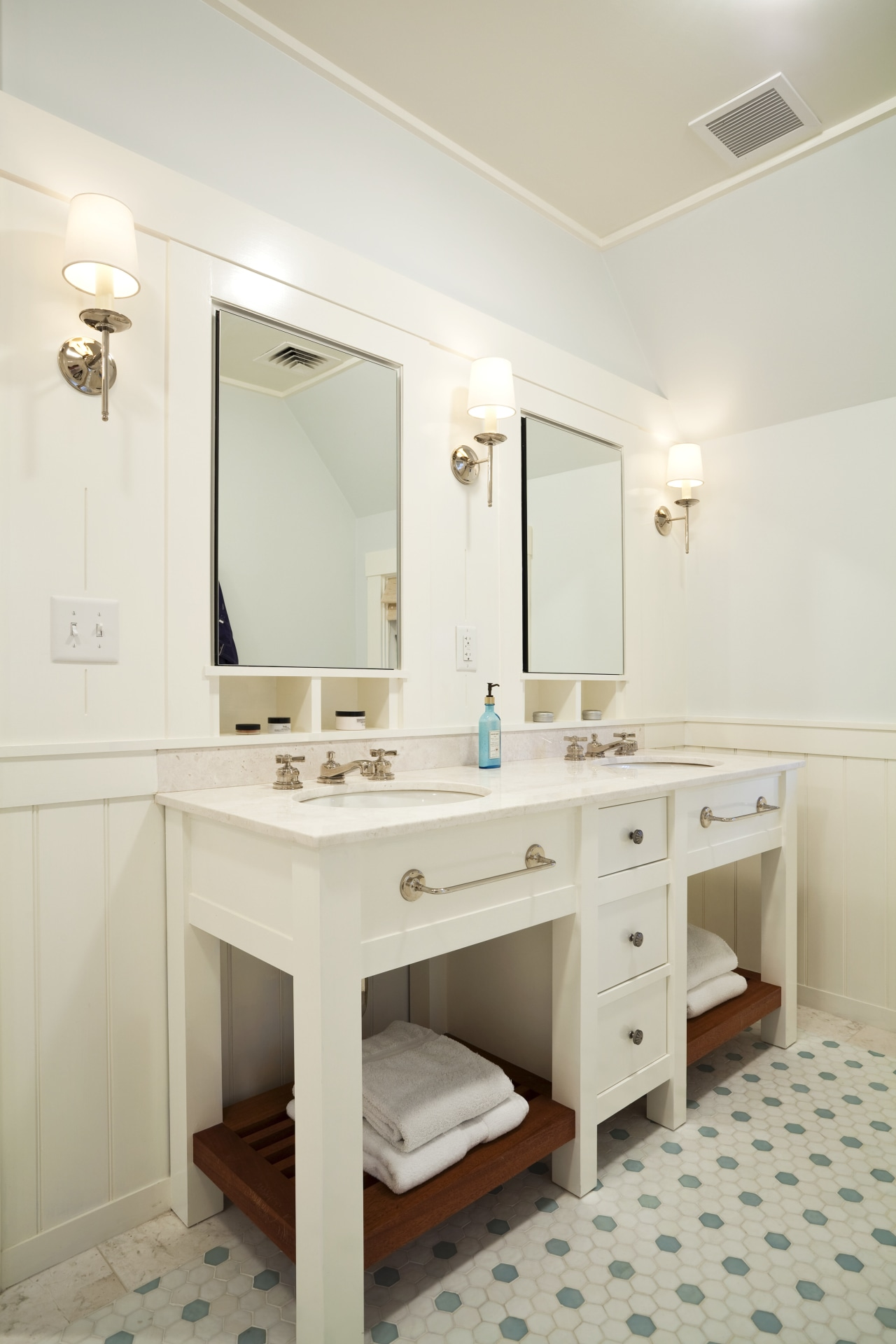 View of basins and mirrors sitting on top bathroom, floor, home, interior design, plumbing fixture, room, sink, suite, white