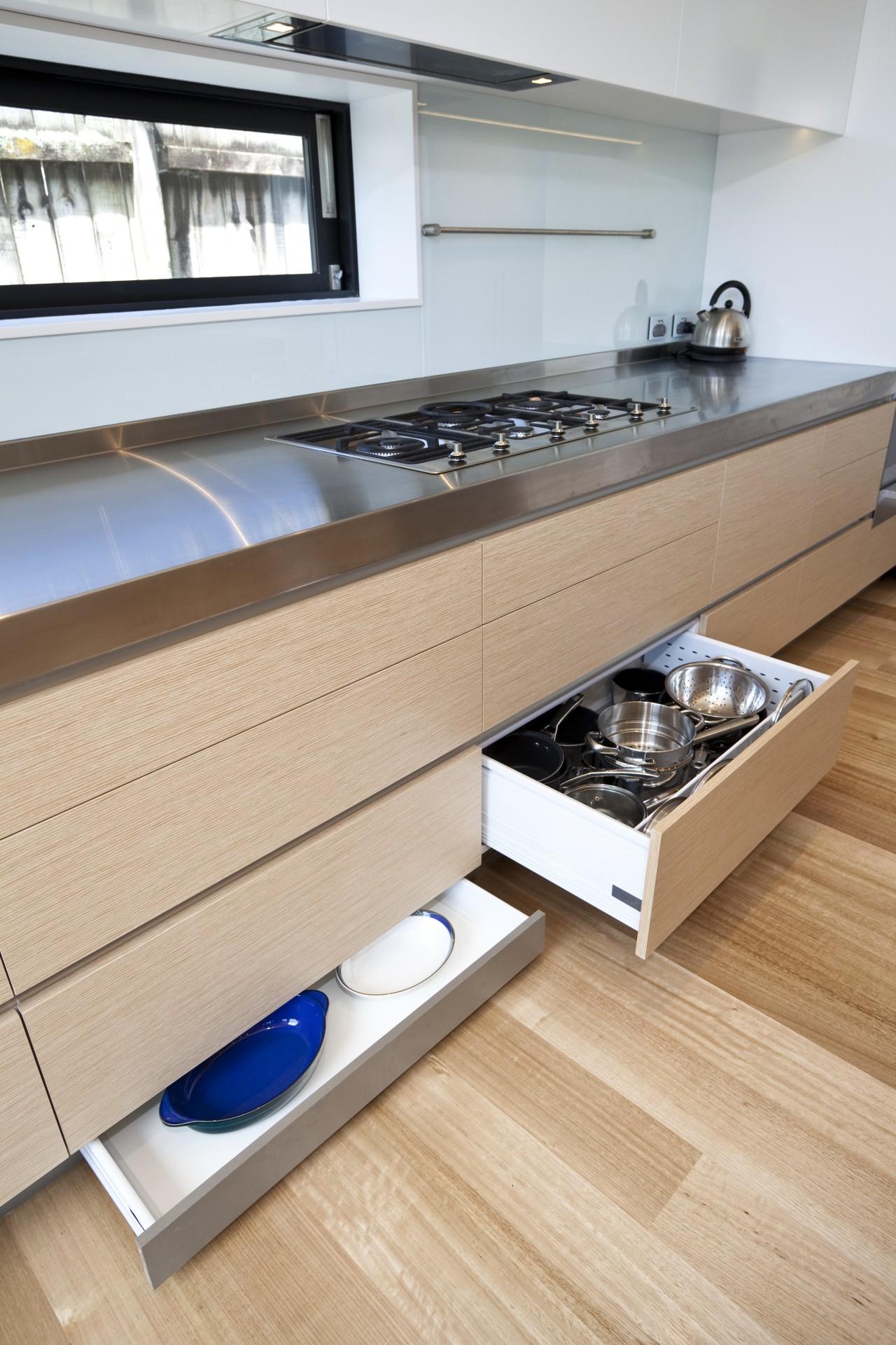 View of a kitchen built by RH Cabinetry floor, flooring, furniture, interior design, kitchen, product design, wood, orange, gray