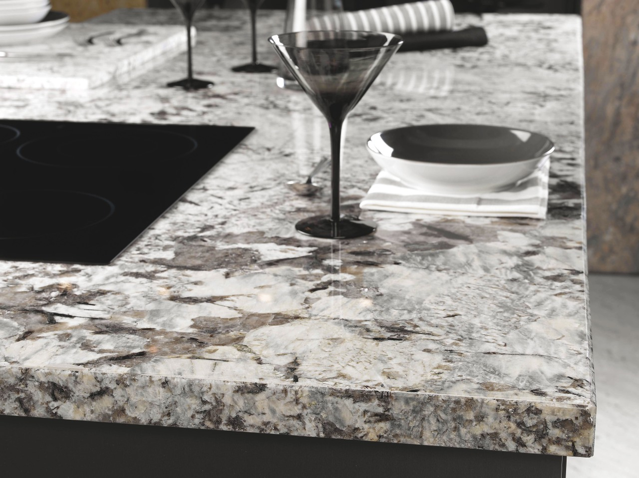 View of a kitchen designed by Mal Corboy material, table, tablecloth, tableware, white, gray