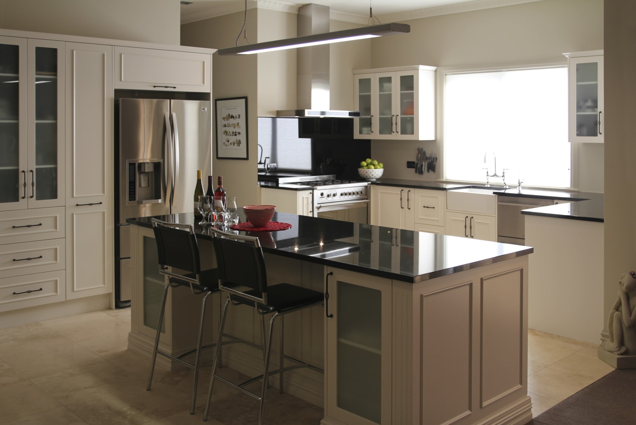 View of a kitchen designed and manufactured by cabinetry, countertop, cuisine classique, furniture, interior design, kitchen, room, brown