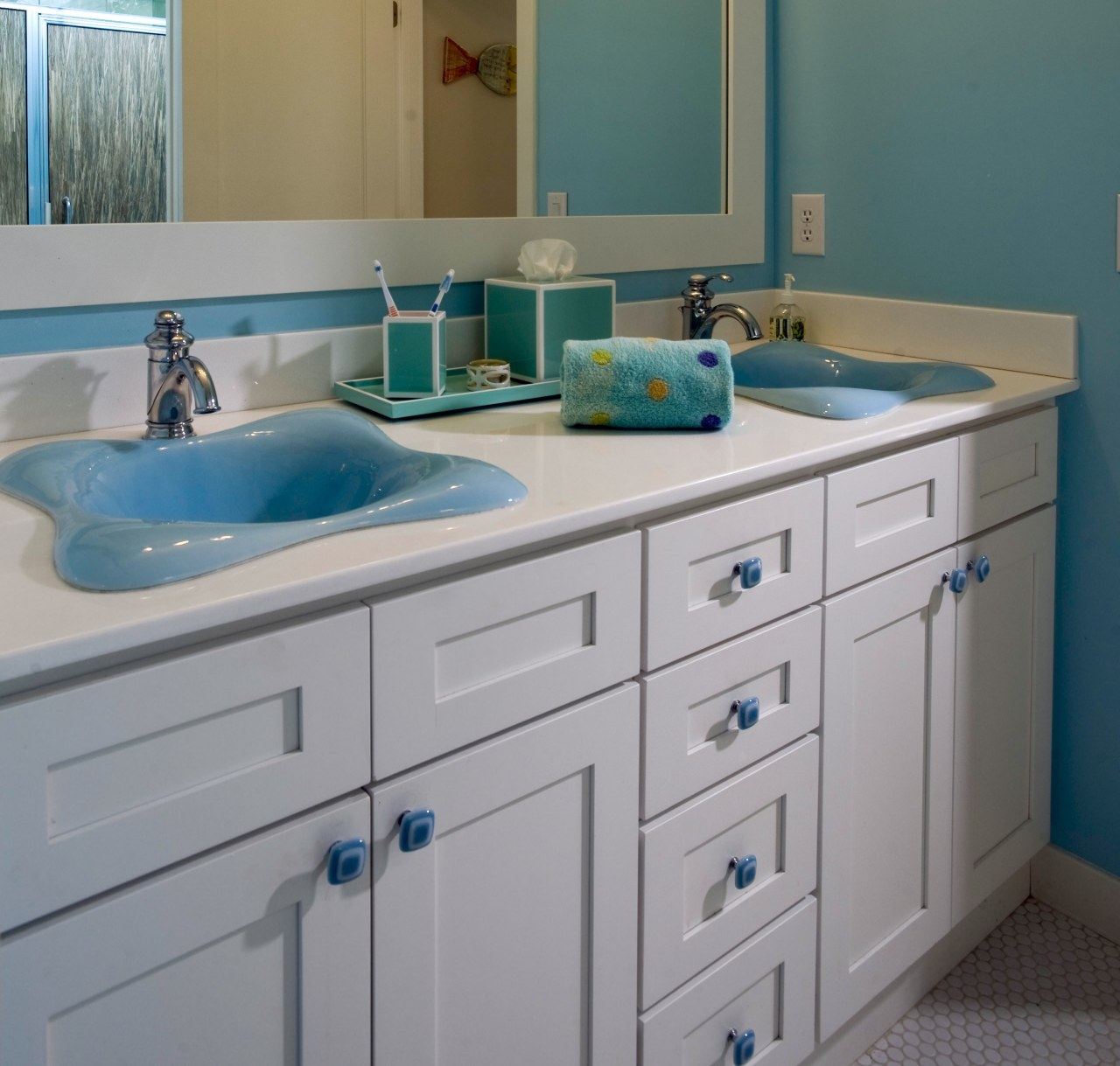 View of bathroom with white cabinetry and blue bathroom, bathroom accessory, bathroom cabinet, bathroom sink, blue, cabinetry, countertop, kitchen, room, sink, gray