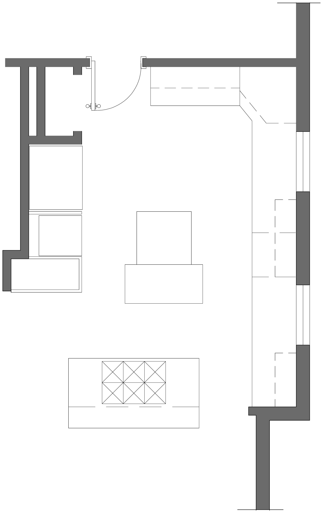 Blueprint of Gamble's remodeled kitchen. angle, architecture, area, black and white, design, diagram, drawing, elevation, floor plan, font, house, line, plan, product, product design, square, structure, white, white