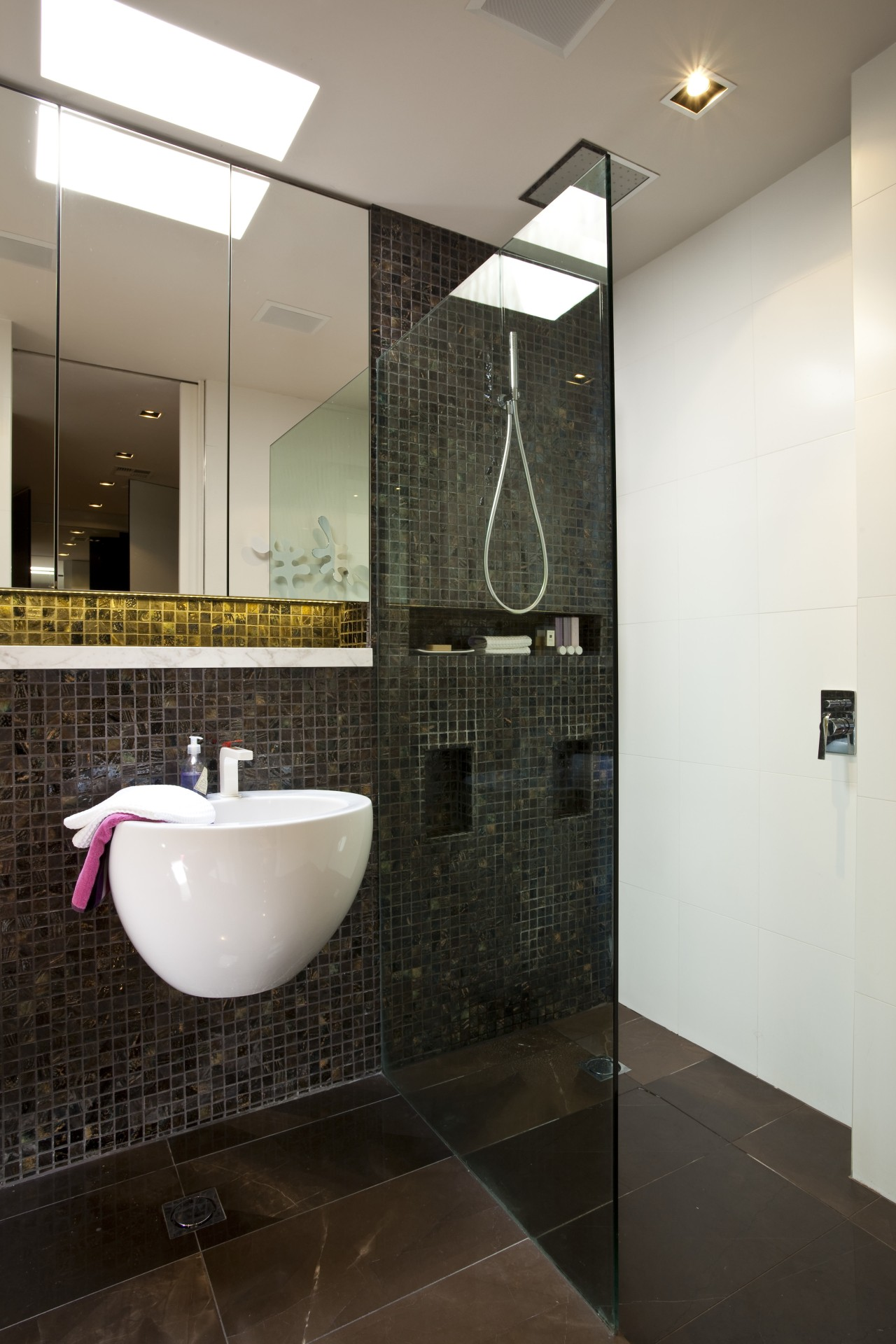 View of contemporary bathroom with dark wall tiles architecture, bathroom, ceiling, floor, flooring, interior design, plumbing fixture, room, sink, tile, wall, black, white