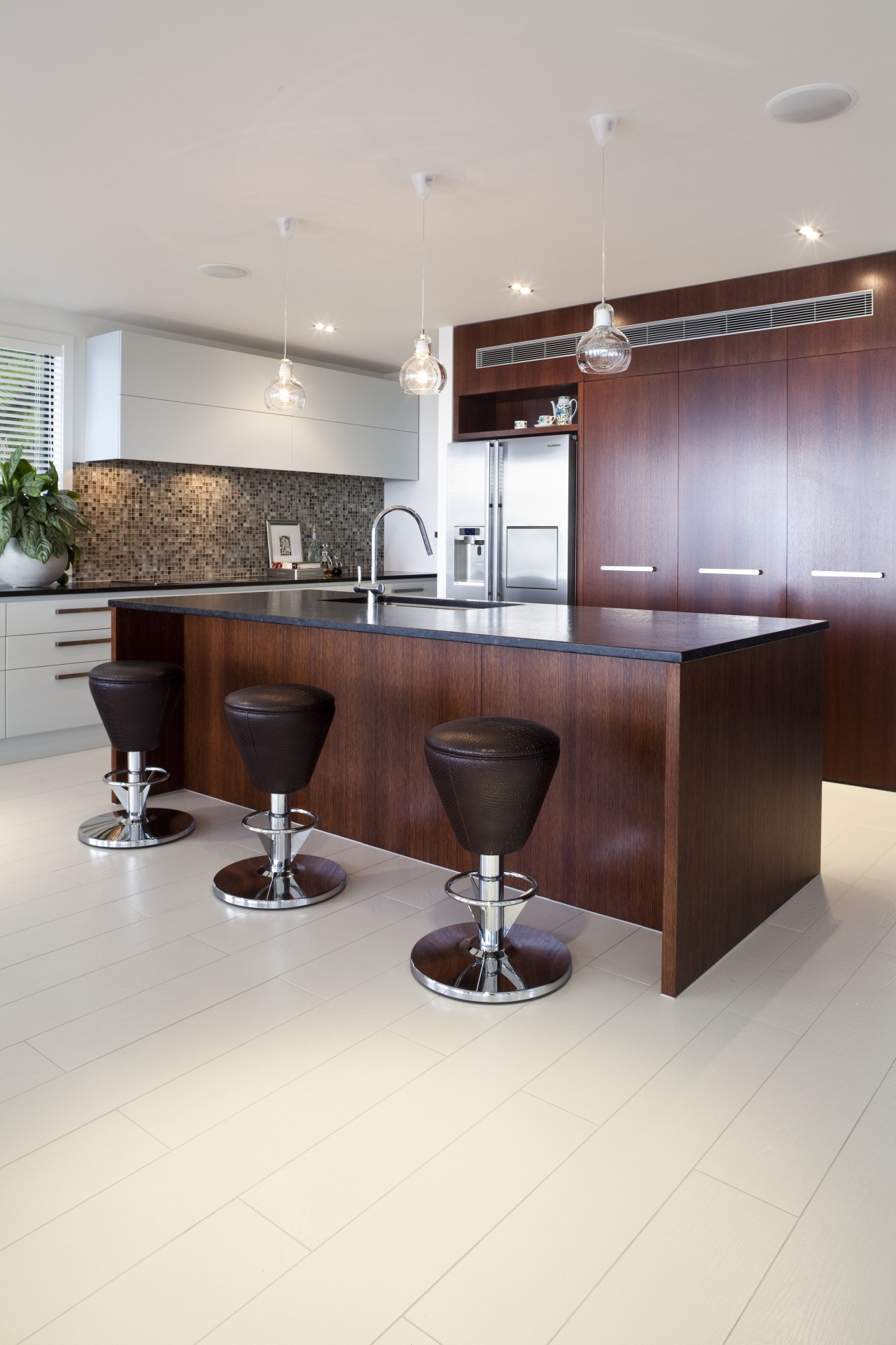 Large functional space/ Remodelled kitchen. Work triangle. Soft-closing countertop, floor, flooring, furniture, interior design, kitchen, product design, table, white