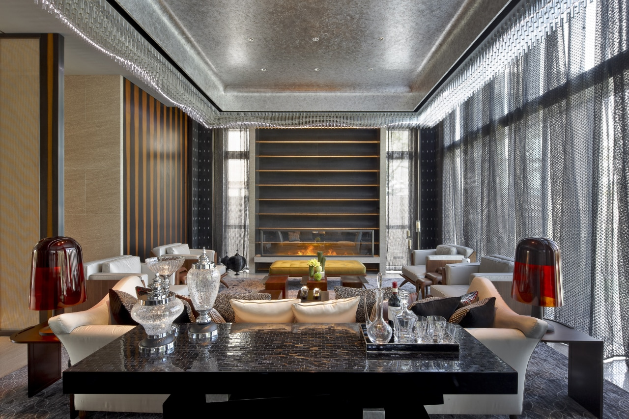 View of open plan dining and lounge area. ceiling, interior design, living room, lobby, room, black, gray