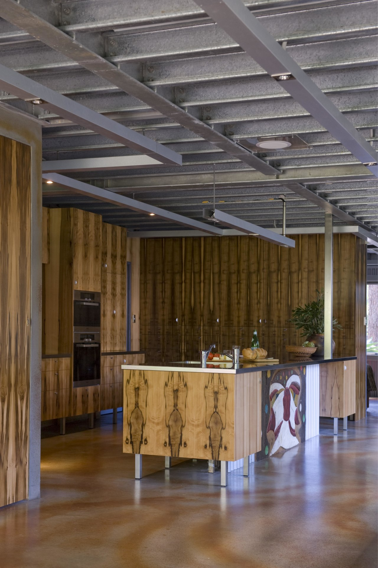 The house and kitchen designed by Jonothan Grose-Jong architecture, beam, ceiling, daylighting, floor, flooring, hardwood, interior design, lobby, wood, wood flooring, brown, gray