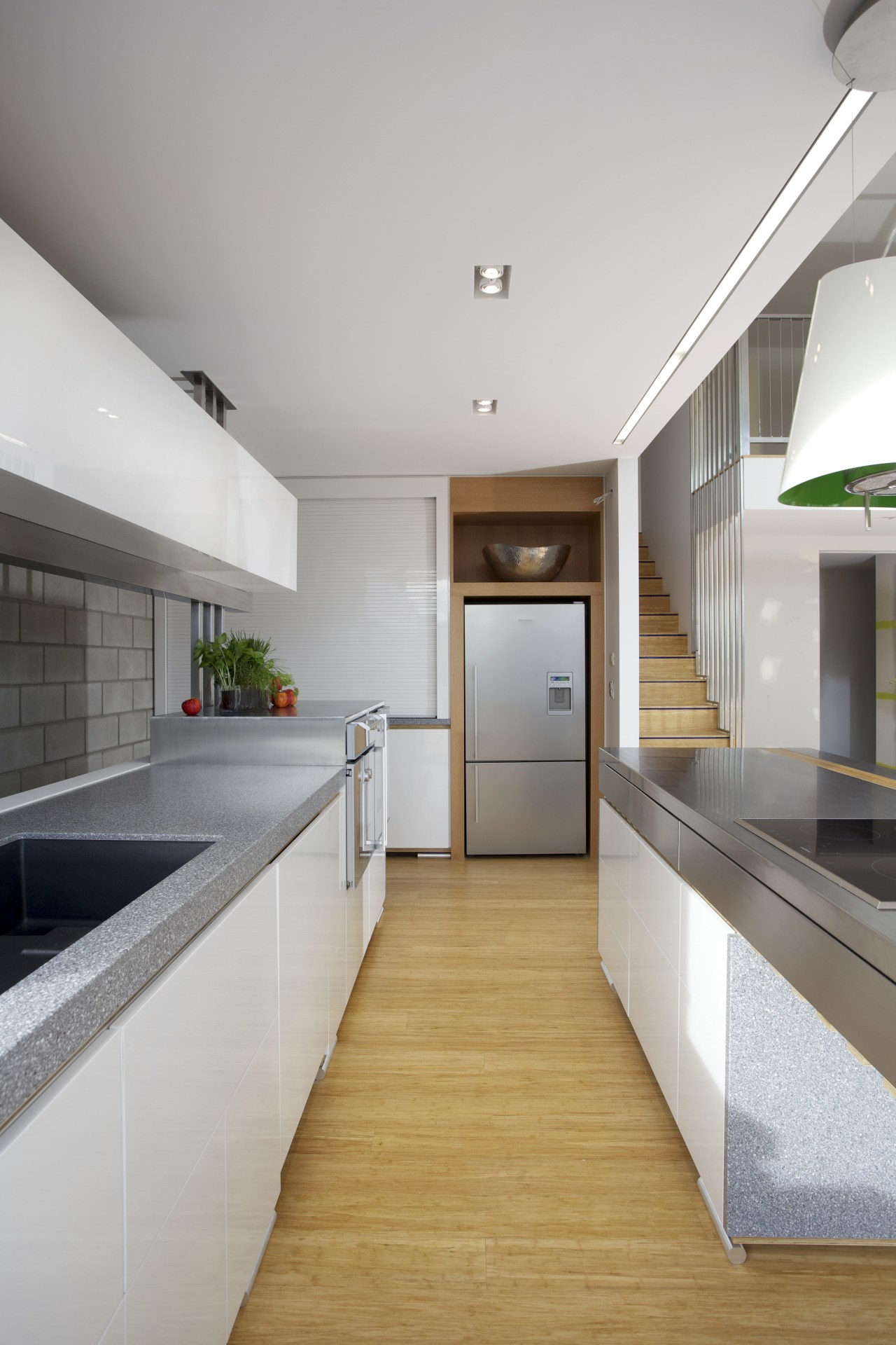 View of kitchen with wooden flooring and stainless architecture, countertop, daylighting, floor, house, interior design, kitchen, real estate, gray