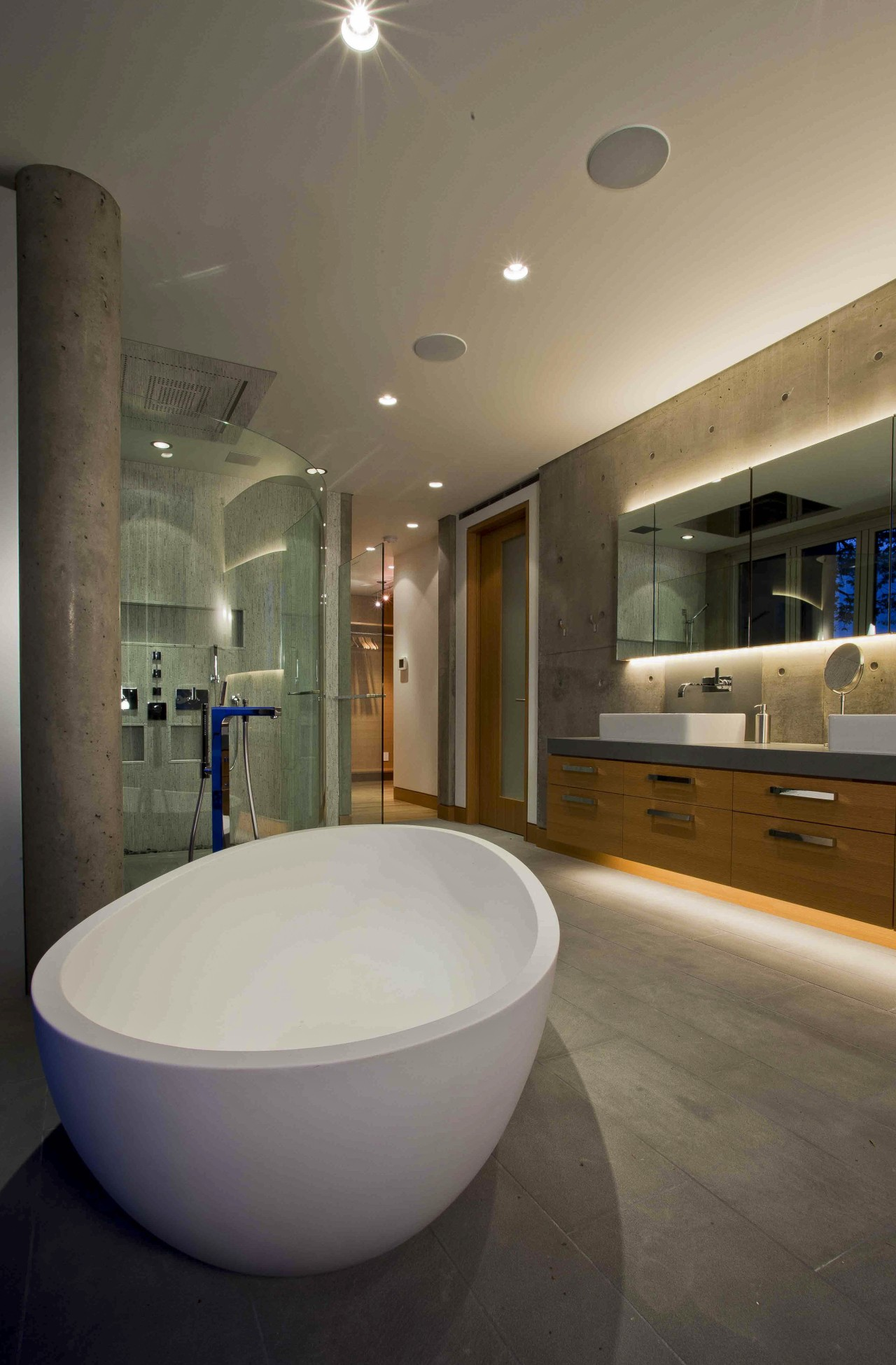 This master suite makes use of the sea architecture, bathroom, ceiling, estate, floor, home, interior design, room, brown, gray