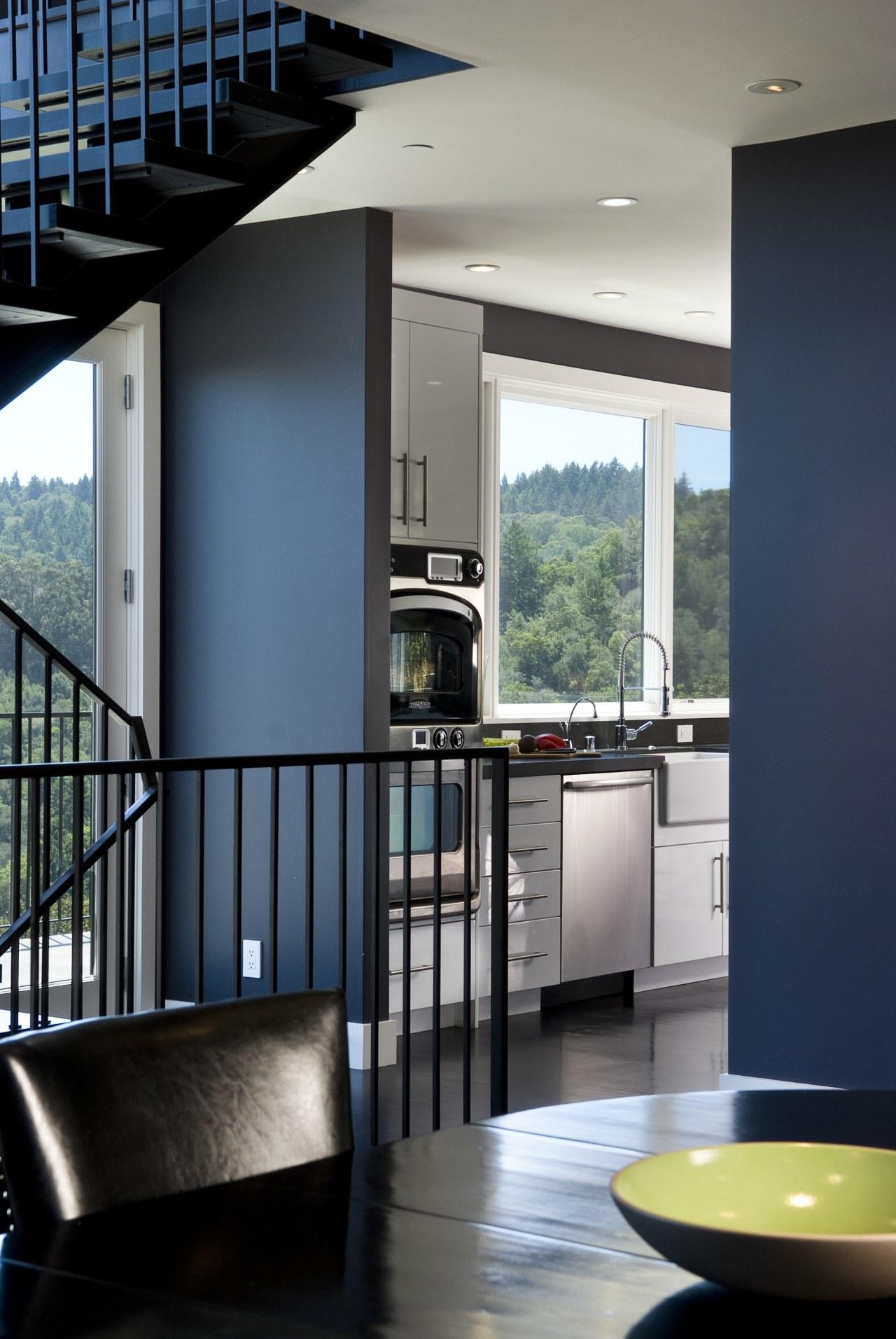 Euro style cabinetry doors. Dark quartzite counter tops. architecture, home, house, interior design, window, black, gray