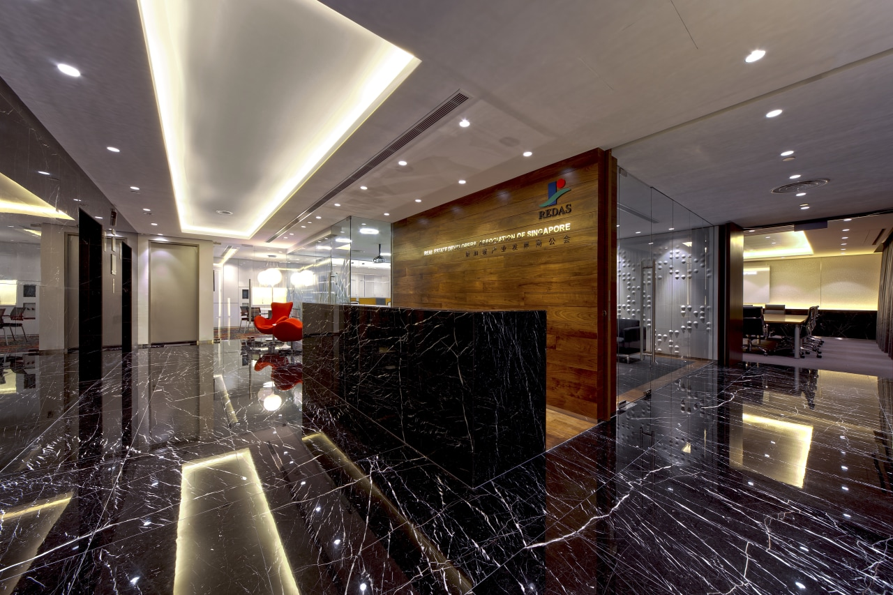 Contemporary offices of  the Real Estate Developer's ceiling, interior design, lobby, black, gray
