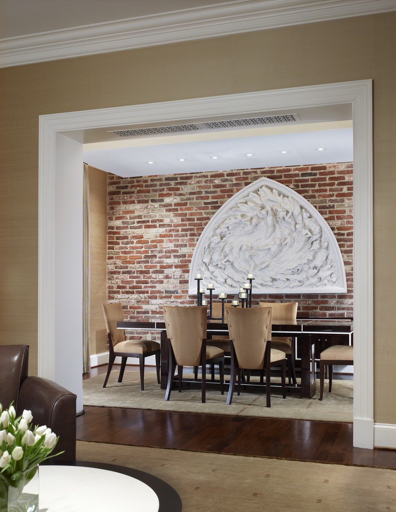 This house was remodeled by architect Ankie Barnes ceiling, dining room, furniture, home, interior design, living room, table, wall, window, gray, brown