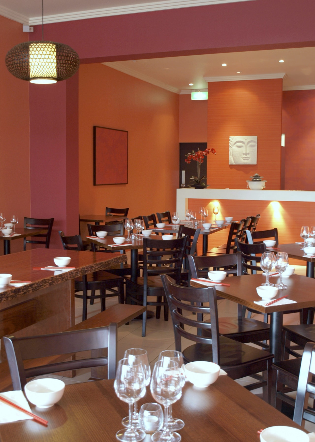 Resene provided the paints for this new Asian café, dining room, function hall, interior design, restaurant, table, red