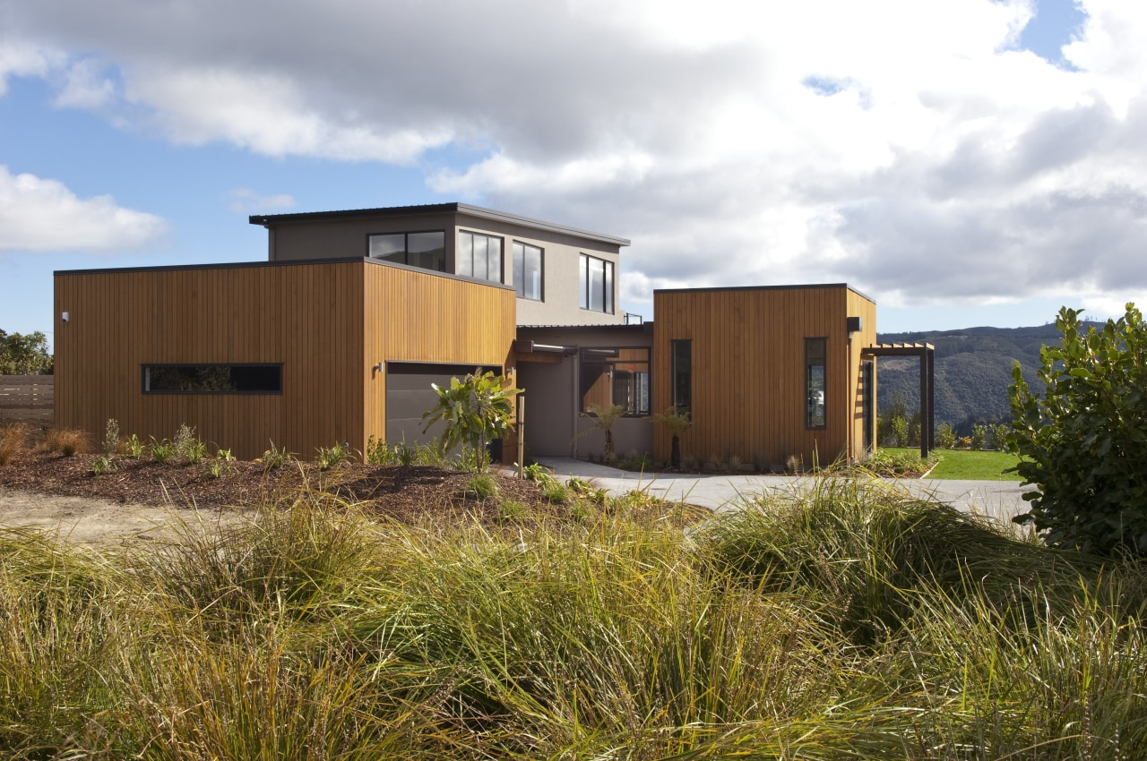 This Upper Hutt Show home was designed and architecture, cottage, elevation, facade, home, house, property, real estate, residential area, brown, white